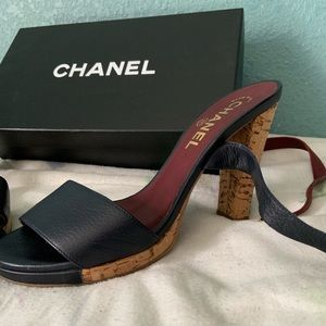 Chanel platform sandals with cork heels